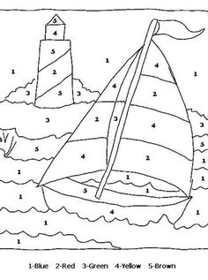 and print this Color By Numbers Sail Boat. Get your free Color By Numbers pages at All Kids Network Music Worksheets, Worksheets For Kids, Piano Lessons, Music Lessons, Music Activities, Preschool Activities, Transportation Activities, Music Games, Color By Numbers
