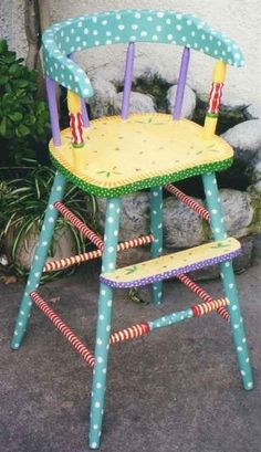 Items similar to Pattern youth chair, hand painted children's furniture, painted high chairs, painted kids furniture on Etsy Painted High Chairs, Whimsical Painted Furniture, Painting Wooden Furniture, Painted Rocking Chairs, Diy Kids Furniture, Repurposed Furniture, Furniture Buyers, Furniture Vintage, Furniture Online