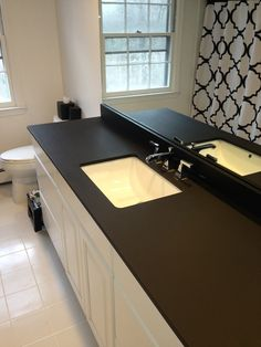A #Richlite #BlackDiamond Bathroom #vanity For A Home In Darien, CT.
