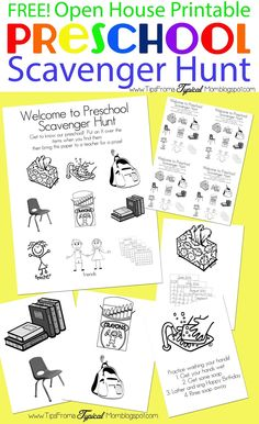 {Preschool Open House} FREE Printable Scavenger Hunt.  My students love this every year!  It helps them feel more comfortable getting to know the classroom. via tipsfromatypicalmom.blogspot.com #preschool #preschoolactivities