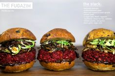 FUGAZIM  Ian MacKaye influenced this hardcore burger is TOTES straight (v)edge.  With a beet based patty, crispy brussel sprouts, shallot confit, and black garlic aioli, this red ...