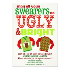 Ugly and Bright Christmas Sweaters Party Custom Announcements