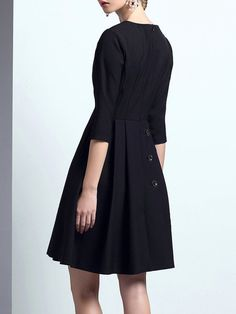 Black Buttoned Pockets Skater 3/4 Sleeve Mini Dress