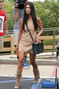 Kourtney Kardashian wearing Celine Boston Bag and Giuseppe Zanotti Suede Boots