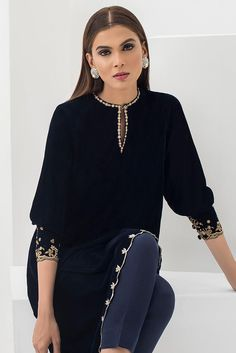 Adorn yourself this festive season in an asymmetric velvet tunic. Pair it up with our signature plain raw silk pants to complete the look. *Plain raw silk pants to be sold separately. Party Wear Indian Dresses, Pakistani Dresses Casual, Pakistani Dress Design, Indian Outfits, Casual Work Outfits, Chic Outfits, Fashion Outfits, Stylish Dress Book, Stylish Dresses