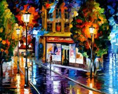 Blue Lights PALETTE KNIFE Landscape City por AfremovArtStudio