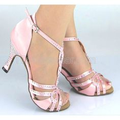 Free Shipping Wholesale Pink Satin Rhinestone Salsa Latin Dance Shoes - $55.99