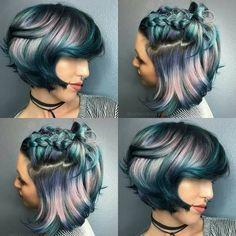 Metallic blue, pink, purple ombré hair color in pixie cut and braid Hair Color Purple, Cool Hair Color, Blue Hair, Hair Colors, Metallic Hair Color, Metallic Blue, Purple Haze, Pink Hair, Brown Hair