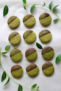 It is hard not to love buttery, crumbly shortbread cookies! These simple cookies get an update with the delicate flavor of matcha! Green Tea Dessert, Matcha Dessert, Matcha Cake, Chocolate Shortbread Cookies, Shortbread Recipes, Cookie Recipes, Dessert Recipes, Cupcakes, Matcha Cookies