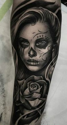 Tattoo Girl Arm Sleeve Day Of The Dead Ideas For 2019 Tattoo Girl Arm Sleeve Tag der Toten Ideen für 2019 Skull Candy Tattoo, Skull Girl Tattoo, Girl Face Tattoo, Sugar Skull Tattoos, Girl Tattoos, Tatoos, Day Of The Dead Tattoo Sleeve, Day Of The Dead Girl Tattoo, Day Of The Dead Tattoo Designs