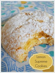 Lemon Supreme Cookies ~ by Jam Hands. Easiest cookies EVER to make using only 3 ingredients (with optional powdered sugar).