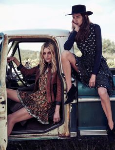 Jessica Stam and Amanda Wellsh wears cropped jackets, printed dresses and cool ankle boots pose in W Magazine December 2015 issue Photoshoot