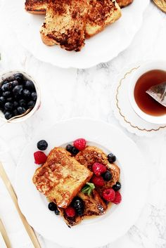 french toast + tea || #breakfast
