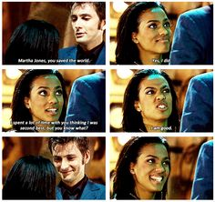 Martha Jones - people give her a hard time because they were getting over rose, but this woman spent the whole series saving the doctor's life. Which other companion was a bodyguard? None. All there for him to save. #DoctorWho