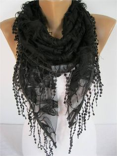 Elegant  Black  Scarf  Cowl with Lace Edge Fashion by MebaDesign, $17.90