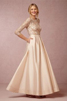 Long Gold Mother-of-the-Bride Dress | Dress: BHLDN | http://knot.ly/6491BSih3