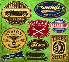 Etiquetas vintage automóviles