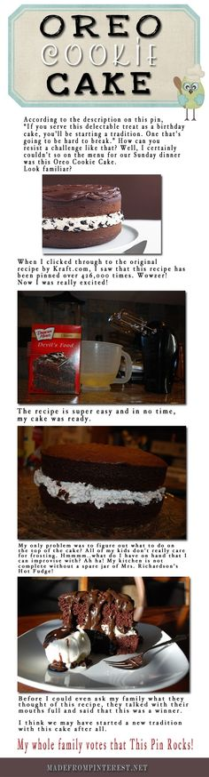 Oreo Cake- super cute. But with from scratch recipes