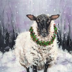 "Daily Paintworks - ""Noel"" - Original Fine Art for Sale - © wendy black Christmas Animals, Christmas Art, Christmas Donkey, Watercolor Christmas Cards, Watercolor Cards, Sheep Paintings, Sheep Art, Christmas Paintings, Watercolor Animals"