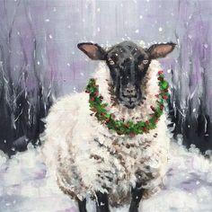 "Daily Paintworks - ""Noel"" - Original Fine Art for Sale - © wendy black Sheep Paintings, Animal Paintings, Watercolor Paintings, Watercolors, Christmas Animals, Christmas Art, Christmas Ideas, Sheep Art, Watercolor Christmas Cards"