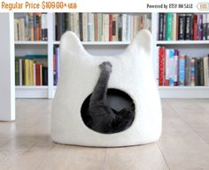 Cat bed - cat cave - cat house - eco-friendly handmade felted wool cat bed - natural white - pet bed - unique gift - stylish home decor Cat Lover Gifts, Cat Lovers, Lovers Gift, Cheap Apartment For Rent, Cat Basket, Cat Cave, Felt Cat, Pet Furniture, Wool Felt