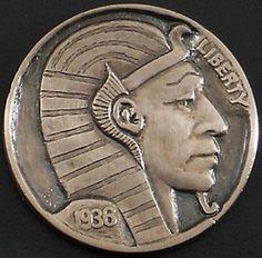 Ralph Perrico - Egyptian Pharoah Hobo Nickel, Coin Art, Gold Bullion, World Coins, Coin Collecting, Monet, Art Forms, Sculpture Art, Egyptian