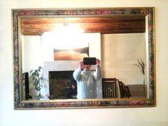 Vintage-Large-Wall-Mirror-William-Morris-Floral-Design-Wood-Frame-Bevelled-Glass
