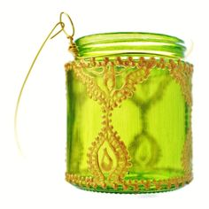 Hanging Candle Holder Inspired by Moroccan Lanterns, Lime Green Tinted Glass With Golden Accents