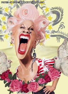 P!nk  FOLLOW THIS BOARD FOR GREAT CARICATURES OR ANY OF OUR OTHER CARICATURE BOARDS. WE HAVE A FEW SEPERATED BY THINGS LIKE ACTORS, MUSICIANS, POLITICS. SPORTS AND MORE...CHECK 'EM OUT!! Anthony Contorno Sr