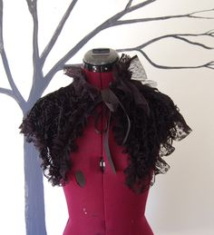 Victorian inspired steampunk goth gothic fashion mini cape shoulder shrug wrap burnt velvet and lace by hhfashions on Etsy https://www.etsy.com/listing/235167664/victorian-inspired-steampunk-goth-gothic
