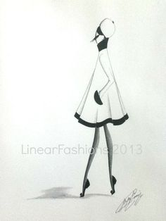 Fashion Illustration 1960s Mod Swing Coat by LinearFashions, $38.00.