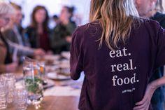 Eat. Real. Food. Meet. Real. People. Drink. Real. Drinks. Find. Real. Love. Täglich unter der Kuppel Basel, T Shirts For Women, Eat, People, People Illustration, Folk