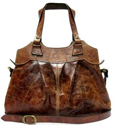 NAPOLI SHOULDER BAG CRACKLE COW IN COGNAC