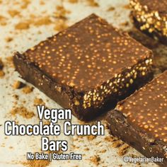 Healthy deserts are my favorite and this recipe for Vegan Chocolate Crunch Bars sure wont disappoint. They have such a satisfying crunch due to the Popped Quinoa. Popped Quinoa is very similar to rice crispy cereals just full of protein and a nutty flavor Vegan Chocolate Bars, Chocolate Crunch, Chocolate Banana Bread, Chocolate Chips, Vegan Protein Bars, Vegan Bar, Quinoa Bars, Easy No Bake Desserts, Easy Cake Recipes
