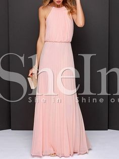 Vestido largo Halter sin mangas-rosado 27.28