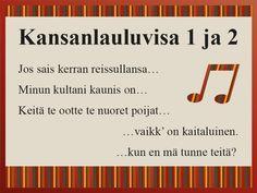 Kansanlauluvisa tuo mieleen tutut vanhat koululaulut. Visassa on tarkoitus yhdistää laulun alkusäkeet laulun toiseen osaan. #kansanlaulu #visa #ryhmätoiminta #musiikki #aivojumppa