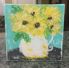 Sunflowers in Pitcher, sunflower painting, sunflower decor, abstract floral by AshleyBradleyArt on Etsy https://www.etsy.com/listing/541422133/sunflowers-in-pitcher-sunflower-painting
