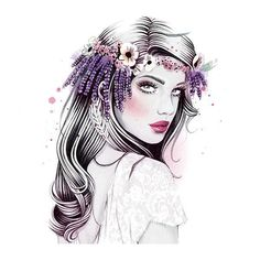 6 Easy DIY Floral Crown Hairstyles ❤ liked on Polyvore featuring dolls, backgrounds, fantasy tube, girls and illustration