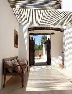a modern rustic home on Formentera Love the texture and wood pergola/roofing detail Interior Exterior, Exterior Design, Interior Architecture, Interior Stairs, Interior Plants, Apartment Interior, Bathroom Interior, Interior Ideas, Interior Inspiration