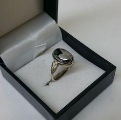16 mm alter 835er Silberring Hämatit Vintage SR739 von Schmuckbaron