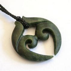 New Zealand Kawakawa Greenstone Korurua Pendant