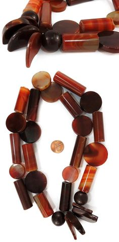 African Trade Beads | Strand of Idar Oberstein, made in Germany | ca. 20th century | Polished carnelian stone | 215$