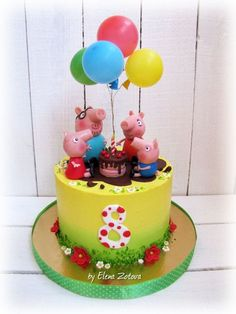 Ideas For Cake Birthday Baby Girl Peppa Pig Tortas Peppa Pig, Peppa Pig Birthday Cake, 3rd Birthday, Pig Party, Cake Decorating Techniques, Novelty Cakes, Cute Cakes, Themed Cakes, Cartoon Tv