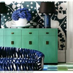 Mint green and navy!  dining room inspiration :)