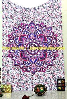 bohemian floral mandala tapestry cute pink boho chick bed cover blanket