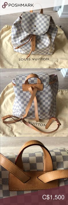 Louis Vuitton Sperone Backpack Damier Azur Excellent Condition Damier Azur Coates canvas with cowhide leather trim and gold colour hardware. Minor sign of use on the leather shown in pictures. Adjustable shoulder straps, outside zipped pocket and inside flat pockets. Come with dust bag and original white cards/care instructions as pictured. Louis Vuitton Bags Backpacks