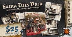 Want to expand your Zombicide games from a small village to a true medieval capital? Then the Extra Tiles Pack is for you! It includes not only the 9 tiles from Black Plague, but also the 2 tower tiles from Wulfsburg, plus a punchboard with extra tokens to fill out your epic game board!