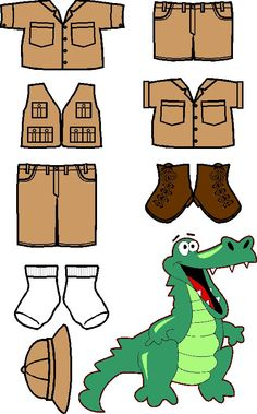 Outback Friends coloured croc hunter khaki clothes and a crocodile