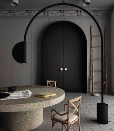 Home Decor Minimalist Interior Design Addict: His cloak was his crowning glory; sable thick and black and soft as sin. Martin Black as night doors credits unknown. Best Interior Design, Interior Styling, Interior Decorating, Design Light, Dining Room Lighting, Design Studio, Rooms Home Decor, Do It Yourself Home, Minimalist Decor