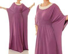 Berry Purple Dubai Kaftan Maxi Dress Pearl by Tailored2Modesty